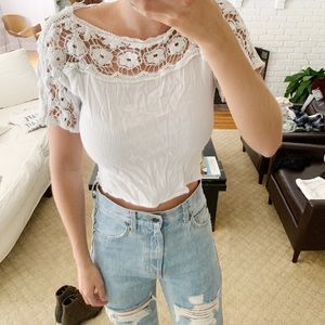 White embroidered Urban Outfitter Crop Top